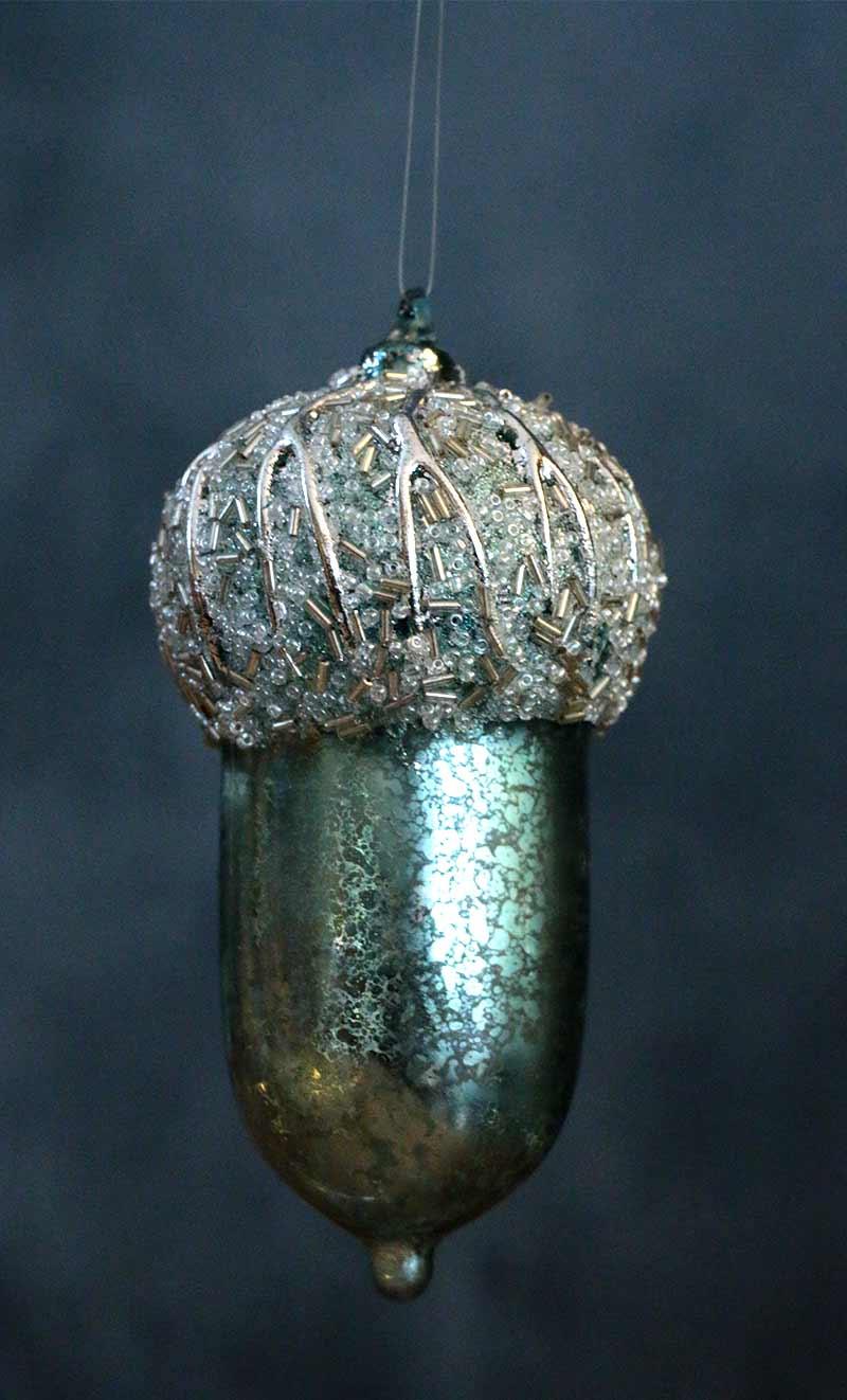 Aqua Blue Antiqued Beaded Acorn Ornament, by Raz Imports