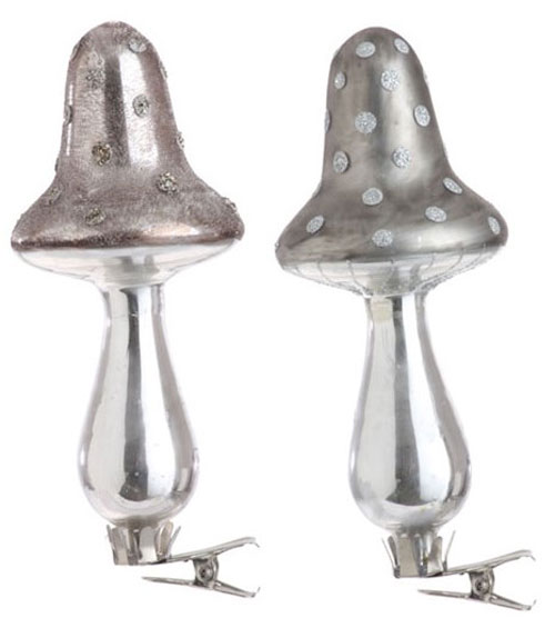 Clip-on Silvered Mushroom Ornament, by Raz Imports