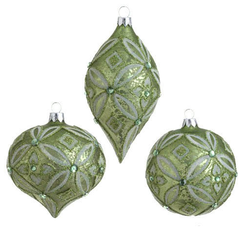 Lime Antiqued Glittered Ornament, by Raz Imports