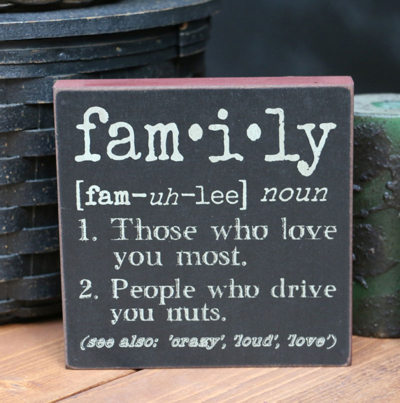 Decorative Wood Sign 6-in x 6-in Hearthside Collection The Definition of Family