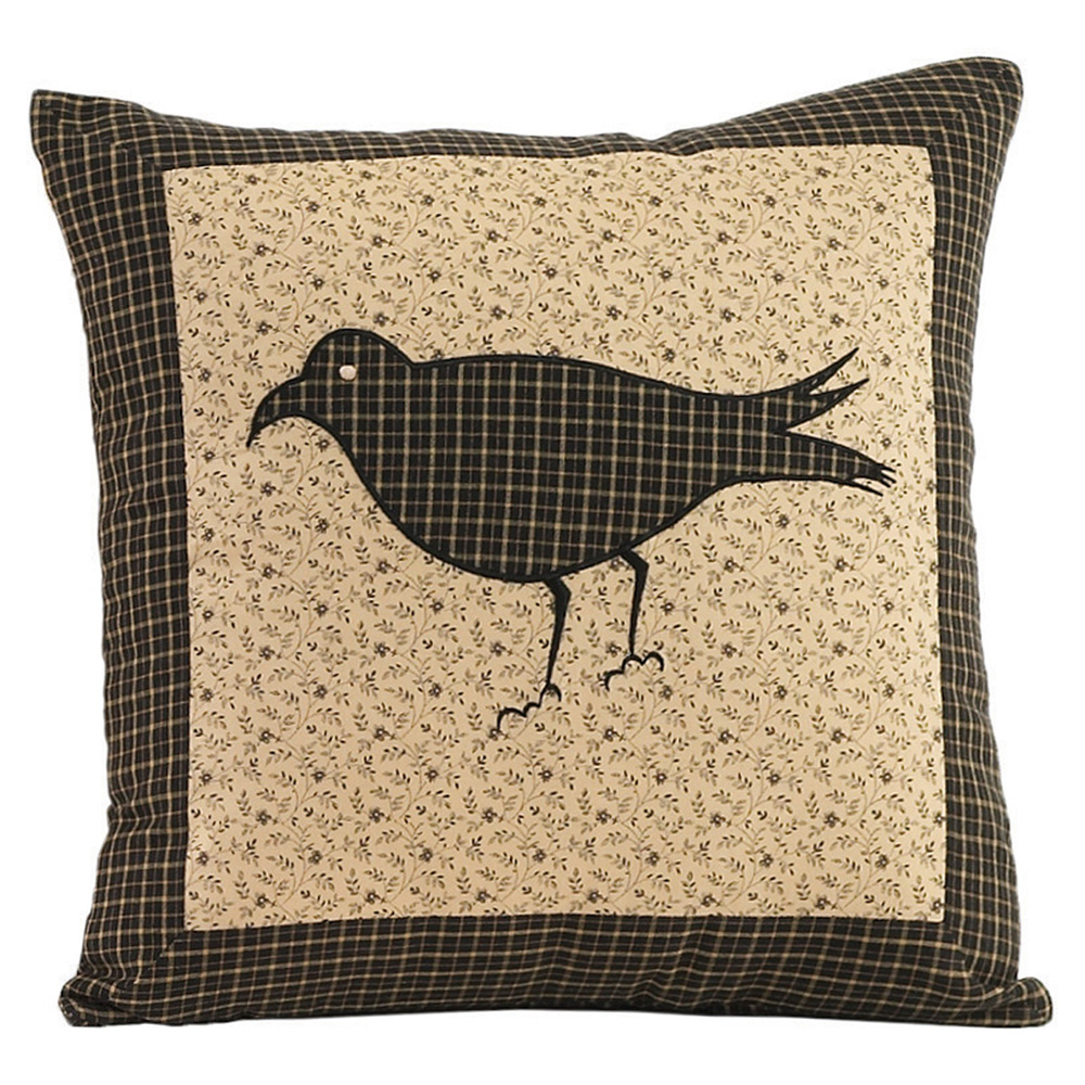 Decorative Primitive Pillows : Kettle Grove Decorative Crow Pillow, by VHC Brands - The Weed Patch