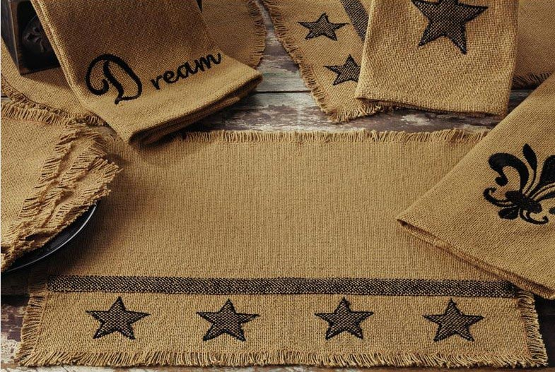 Burlap Star Placemat, by India Home Fashions.