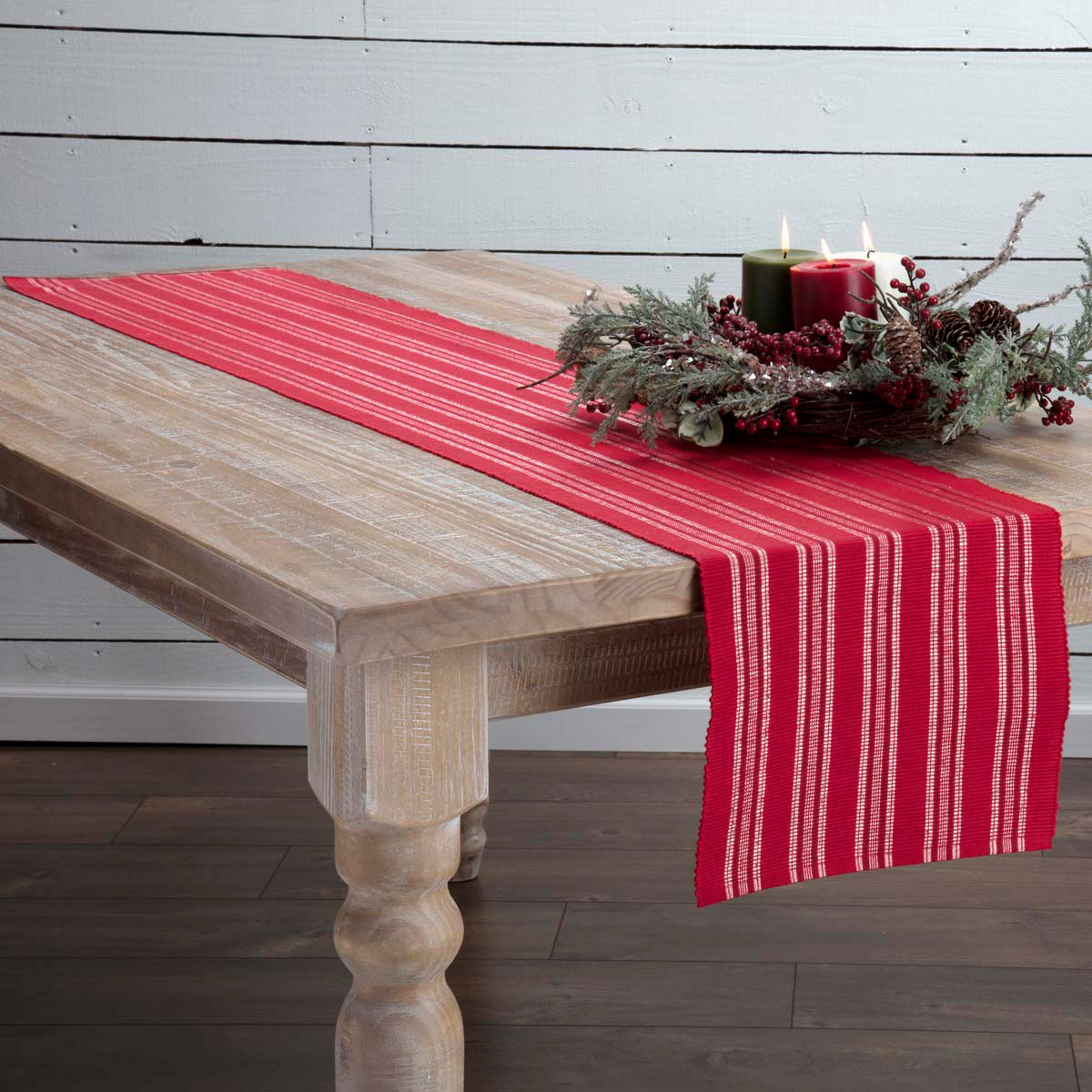Holly Red 90 inch Table Runner, by VHC Brands.