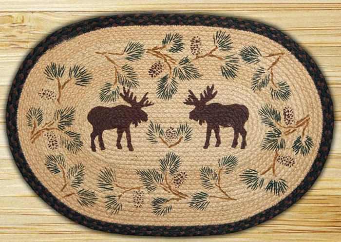 Moose & Pinecone Braided Jute Rug, by Capitol Earth Rugs