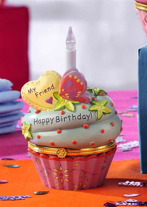 Birthday Wishes Cupcake Trinket Box - Friend