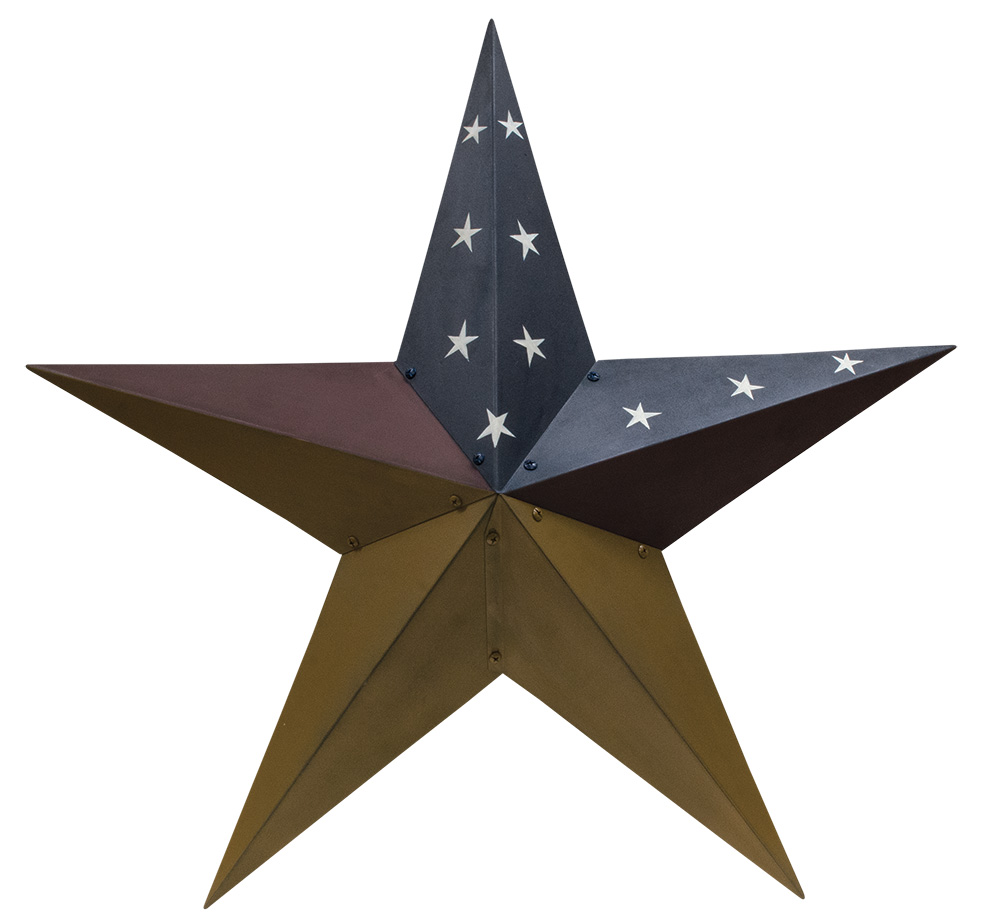 48 inch Aged Patriotic Barn Star, by The Hearthside Collection.