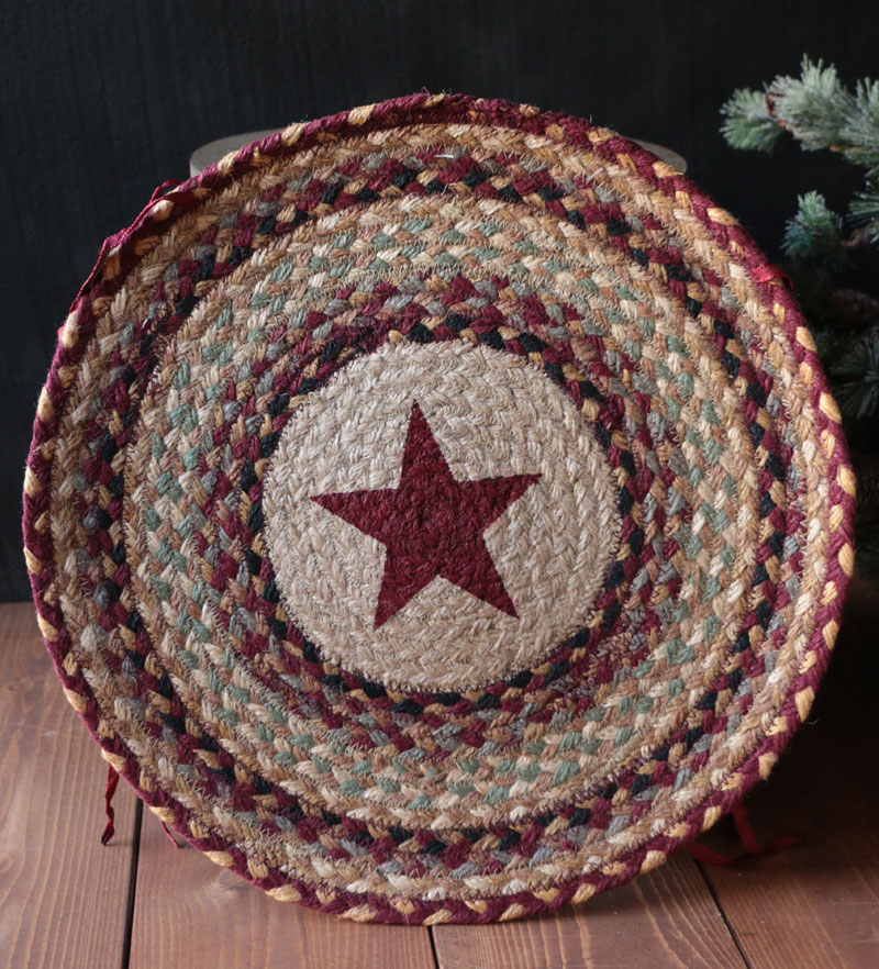 Burgundy Star Braided Jute Chair Pad By Capitol Earth