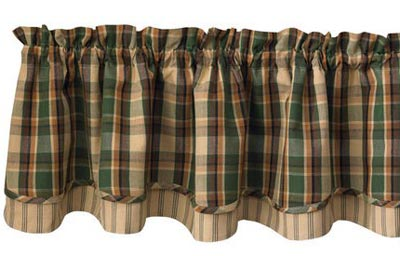 Scotch Pine Lined Layered Valance, by Park Designs
