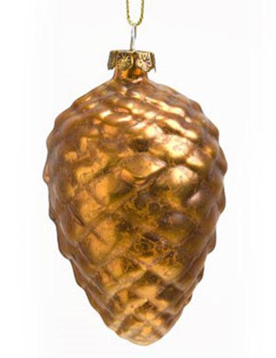 Pinecone Glass Ornament - Copper
