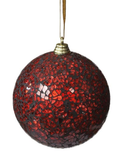 Red Mirrored Ball Ornament, by Seasons of Cannon Falls