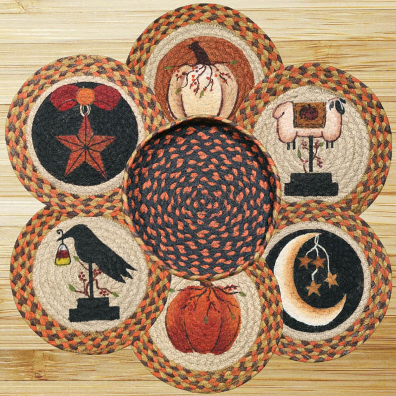 Autumn Braided Jute Trivet Set, by Capitol Earth Rugs.