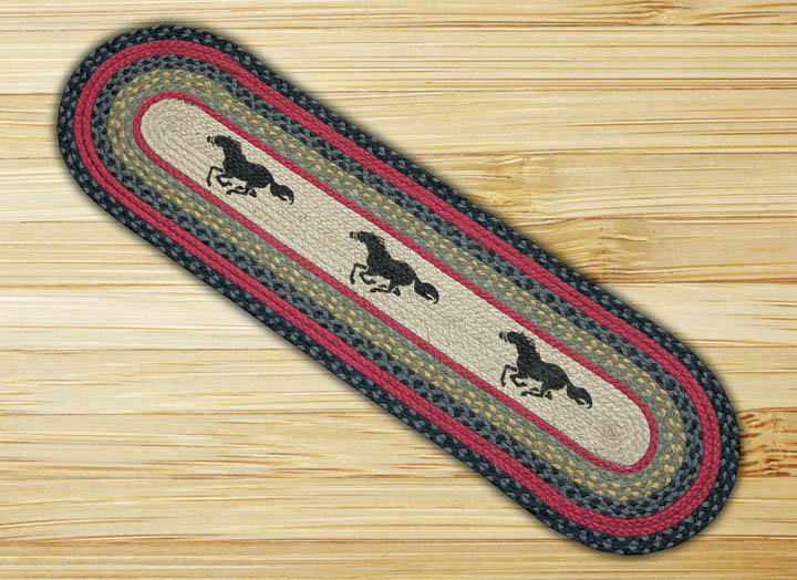 Horses Braided Jute Table Runner, by Capitol Earth Rugs
