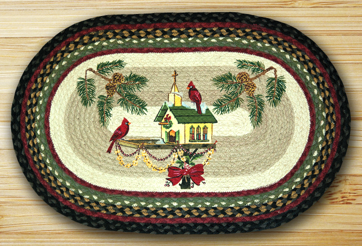 Christmas Birdhouse Oval Patch Braided Rug By Capitol