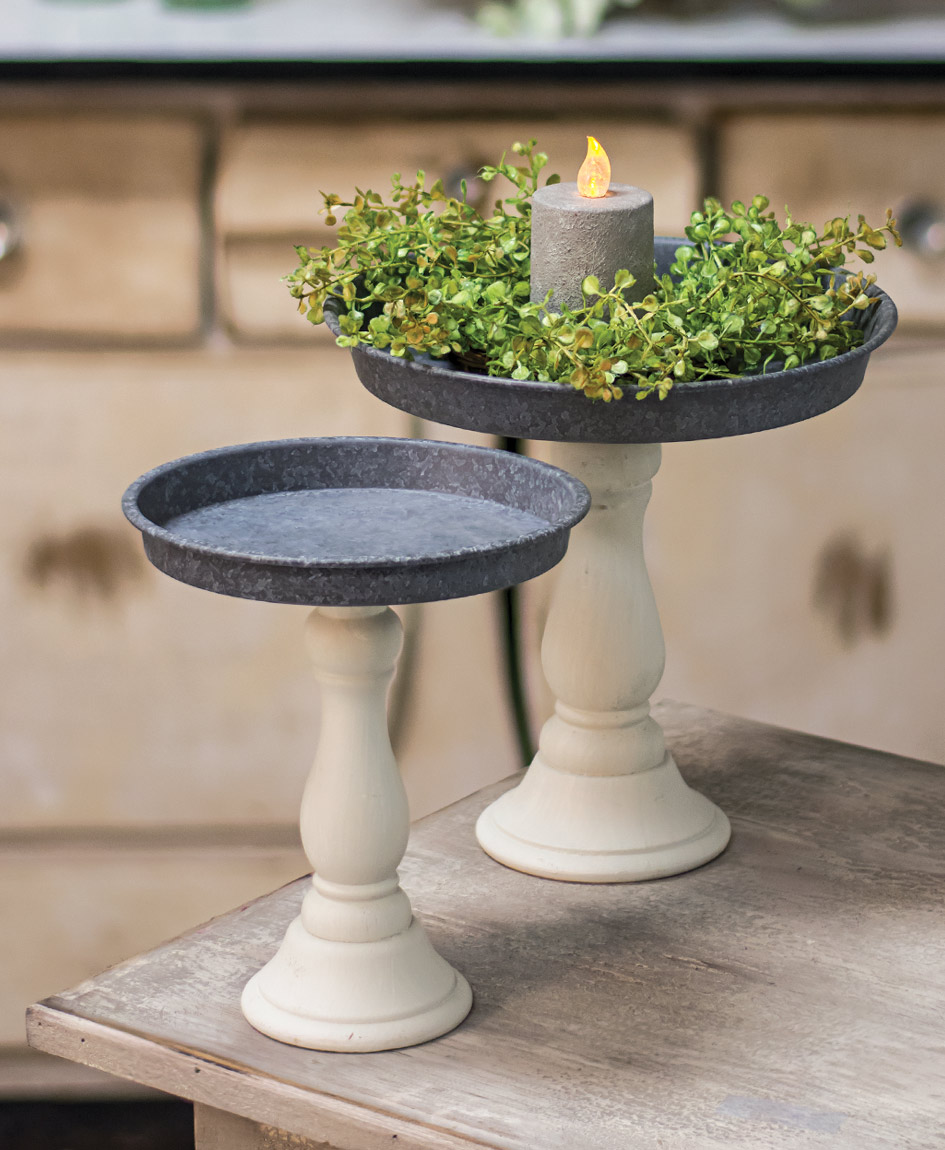 Distressed White Pedestal Candle Trays