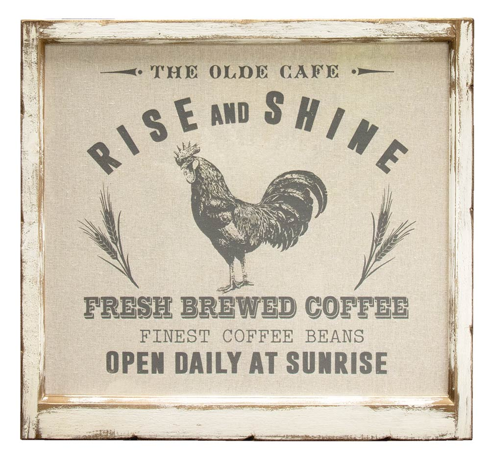 Rooster Metal Sign Vintage Look Rise and Shine