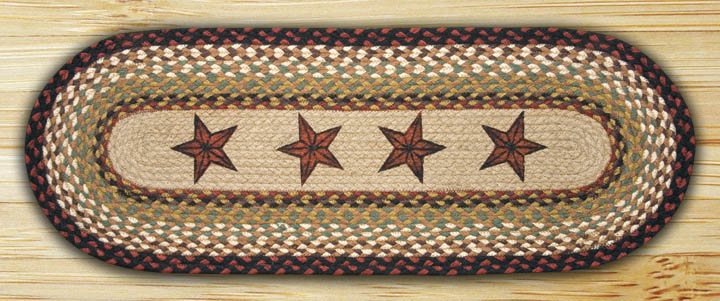 48 inch Barn Star Braided Jute Table Runner, by Capitol Earth Rugs