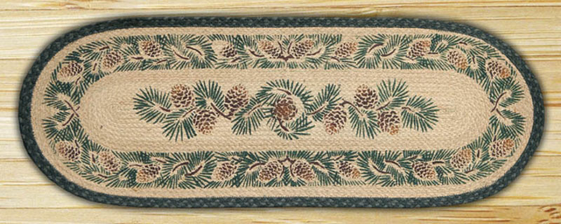48 inch Pinecone Braided Jute Tablerunner, by Capitol Earth Rugs