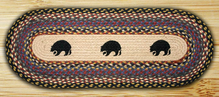 Black Bears Braided Table Runner, by Capitol Earth Rugs