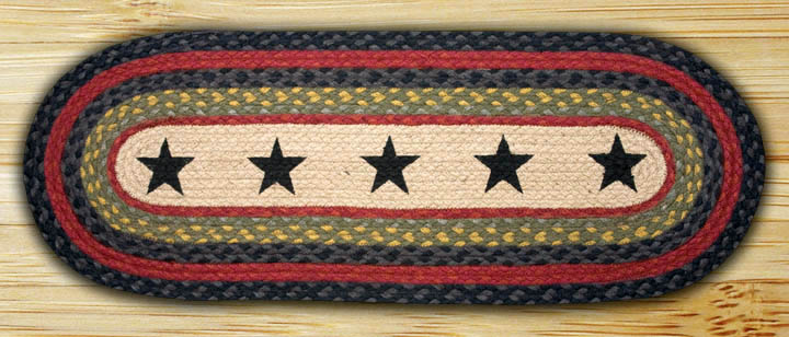 Stars Braided Jute Table Runner, by Capitol Earth Rugs