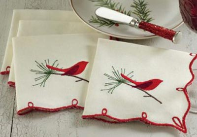 Cardinal and Sprig Embroidered Cocktail Napkin