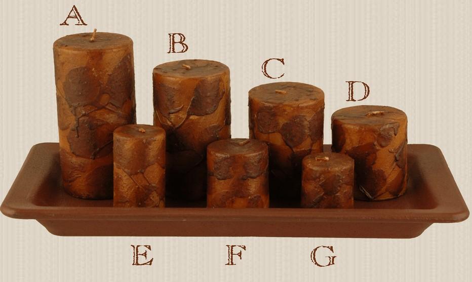 Primitive Mustard Dripped Wax Pillar Candles