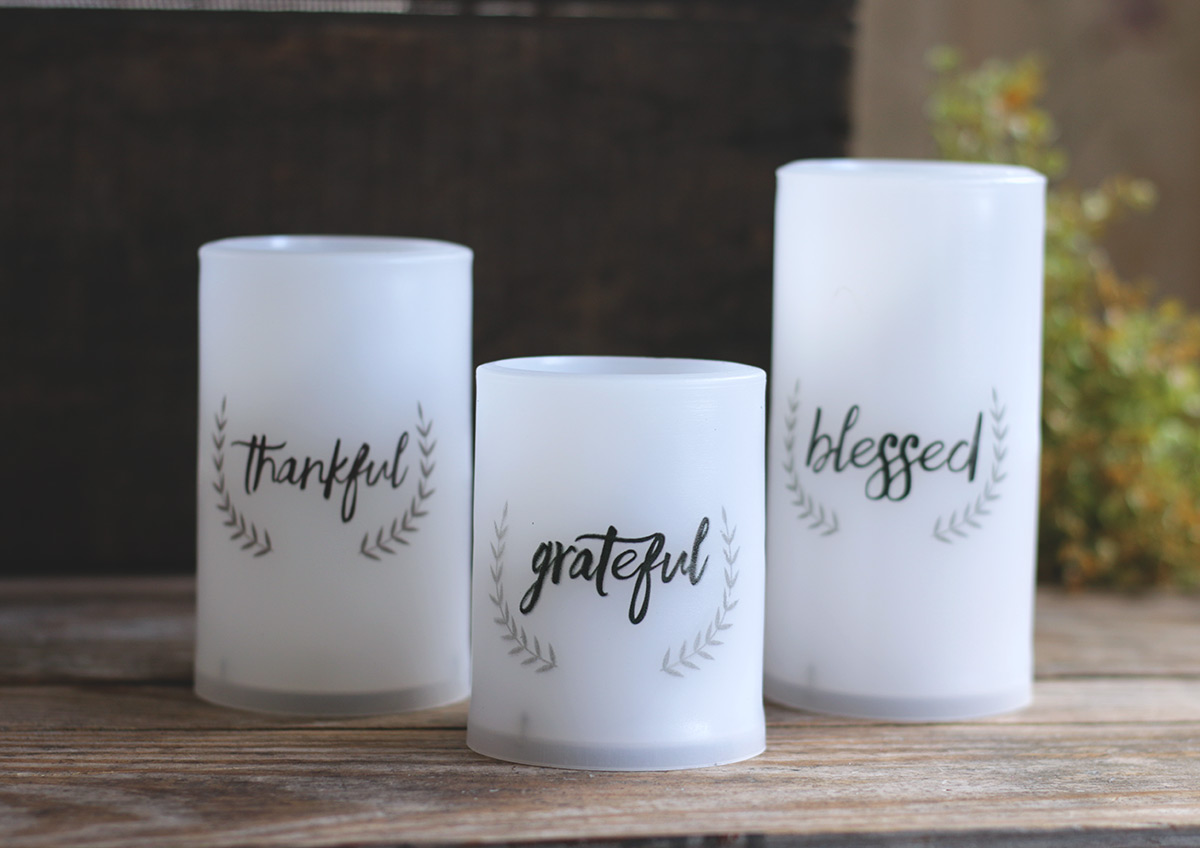 Thankful, Grateful, Blessed LED Pillar Candles with Timer