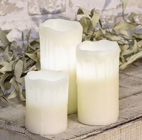 White Drip Pillar Candles with Timers