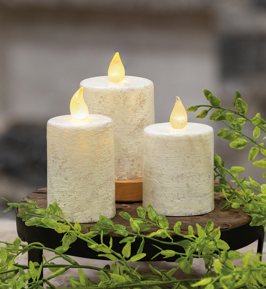 Rustic White Timer Pillar Candles