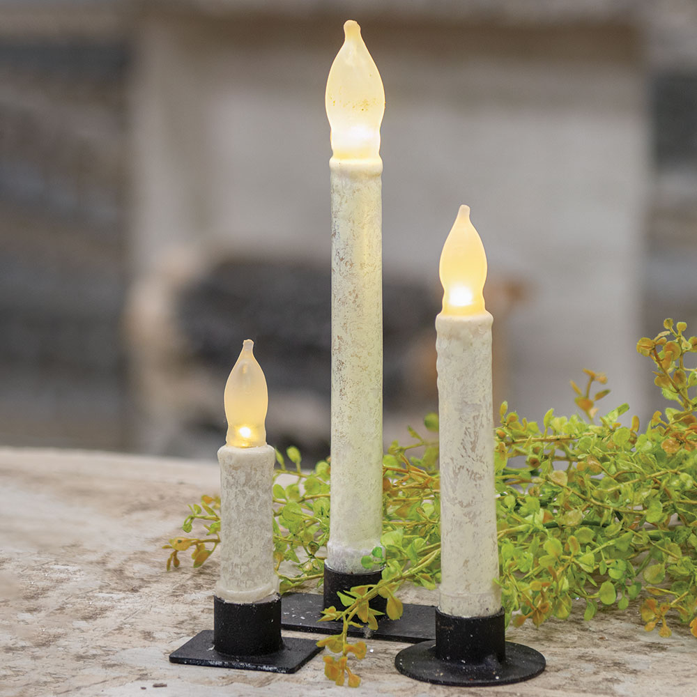 Rustic White Timer Taper Candles