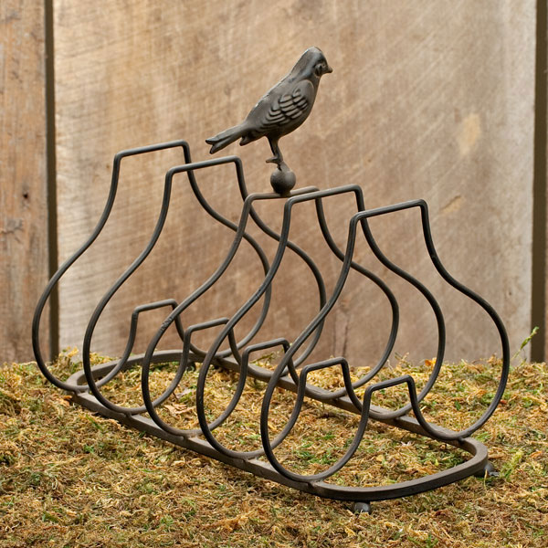 Plate Holder with Perched Bird, by Lone Elm Studios