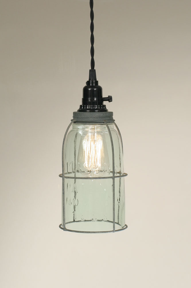 Barn Roof Caged Mason Jar Pendant Lamp, by CTW Home Collection