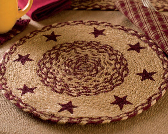 Burgundy and Tan Jute Tablemat with Stars, by Victorian Heart