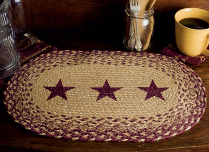 Burgundy and Tan Jute Placemat with Stars, by Victorian Heart