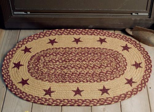 Burgundy and Tan Jute Rug with Stars, by Victorian Heart