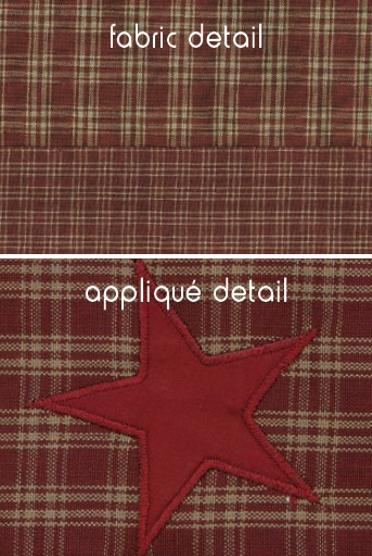 Applique Star Burgundy Fabric