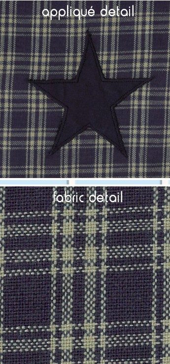 Applique Star Navy Fabric