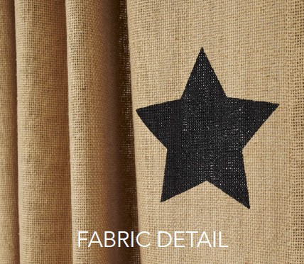 Black Star Burlap Fabric Detail