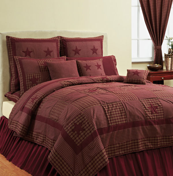 Applique Star Burgundy Quilt, by Victorian Heart
