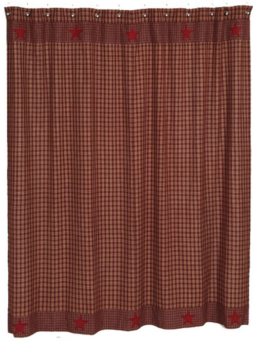 Applique Star Burgundy Shower Curtain
