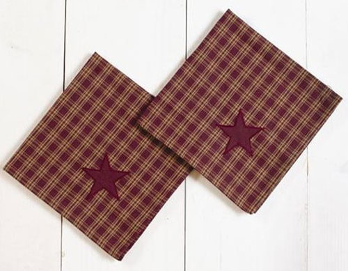Applique Star Burgundy Napkins, by Victorian Heart