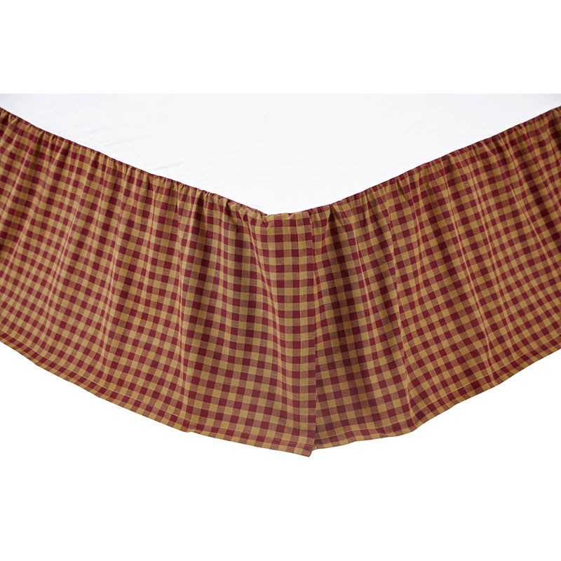 Burgundy and Tan Check Bed Skirt, by Ashton & Willow
