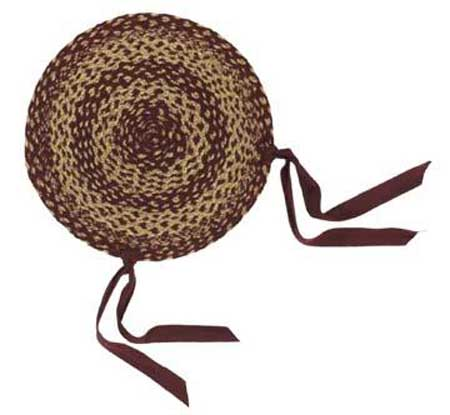 Burgundy and Tan Jute Chair Pads, by VHC Brands