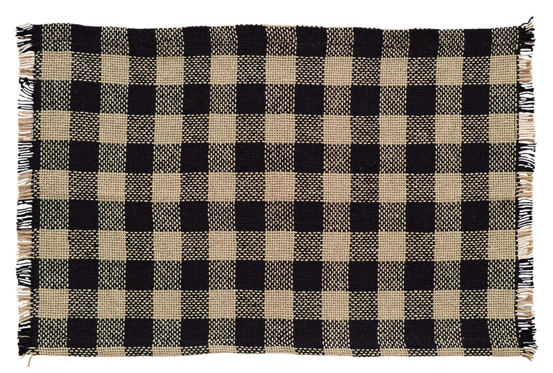 Burlap Black Check Placemats, by VHC Brands