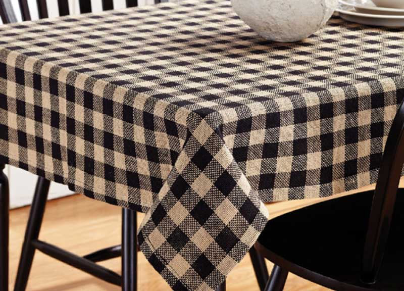 Burlap Black Check Tablecloth, by Victorian Heart.