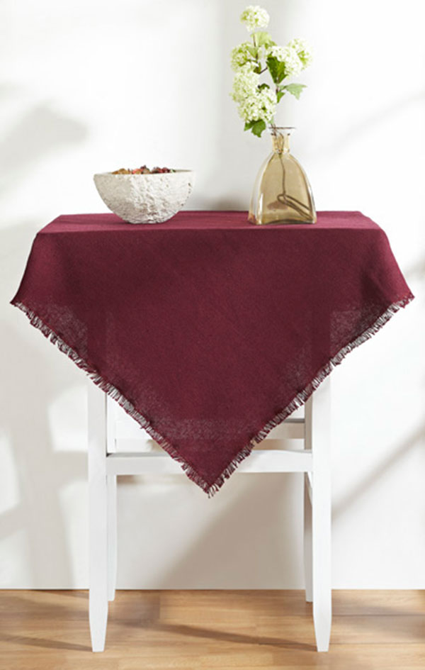 Burlap Merlot Tabletopper/Tablecloth, by Victorian Heart