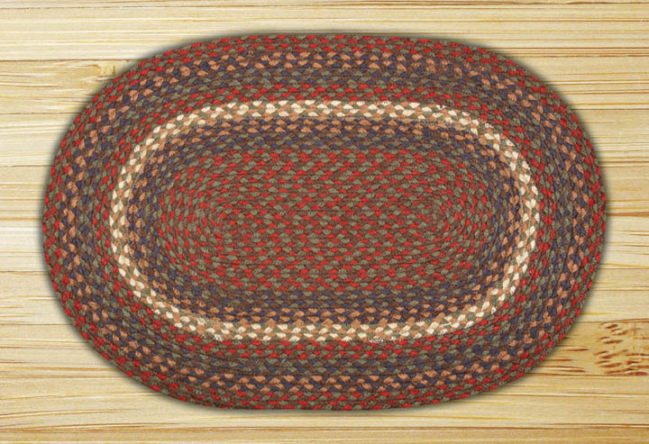 Burgundy, Grey, and Blue OVAL Jute Rug