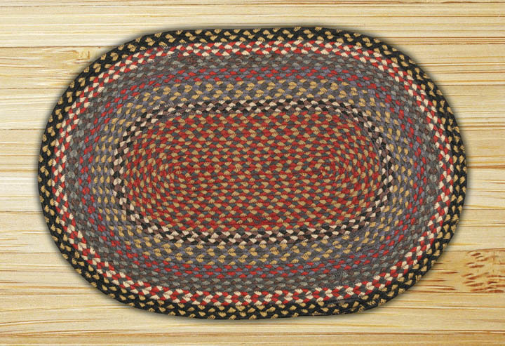 20 x 30 inch Burgundy, Blue, and Grey Oval Jute Rug, by Capitol Earth Rugs