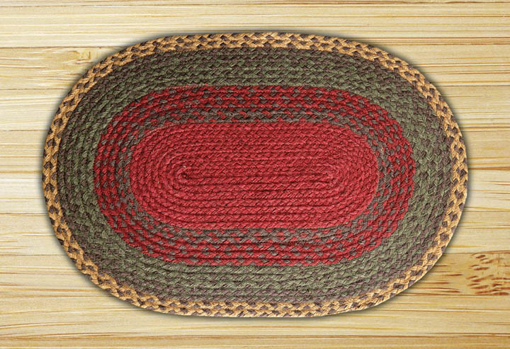 Burgundy, Green, and Sunflower Oval Jute Rug, by Capitol Earth Rugs