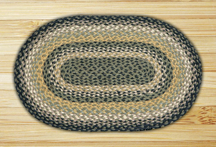 Black, Mustard, & Creme Oval Jute Rug, by Capitol Earth Rugs.