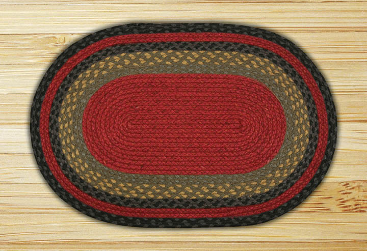 Burgundy, Olive, and Charcoal Oval Jute Rug, by Capitol Earth Rugs.